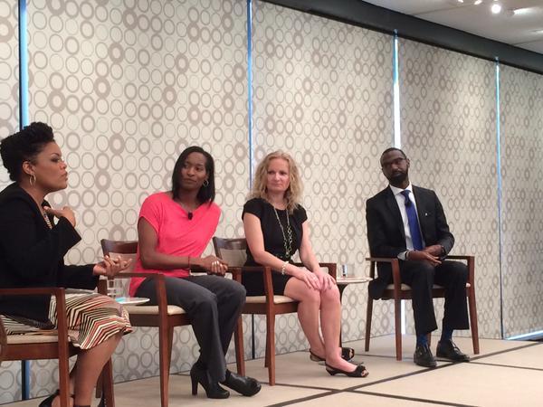 Yvette Nicole Brown facilitates the teacher panel with Damon Qualls, Jane Viau and myself!
