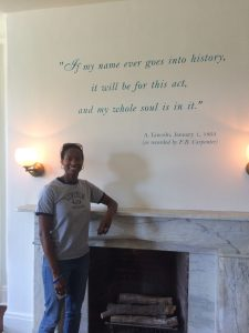 In the family room at Lincoln's Cottage (aka The Soldier's Home)